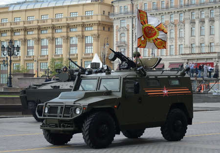 rehearsal: The armored car Tiger-M at the rehearsal of the parade dedicated to Victory Day. Editorial