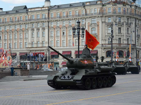 a rehearsal: Medium tank T-34-85 at the rehearsal of the parade dedicated to Victory Day. Editorial
