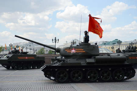 Medium tank T-34-85 at the rehearsal of the parade dedicated to Victory Day. Editorial