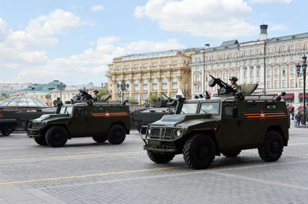 armored car: The armored car Tiger-M at the rehearsal of the parade dedicated to Victory Day. Editorial