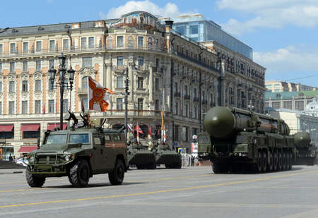 propelled: Rehearsal celebration of the 71th anniversary of the Victory Day (WWII).