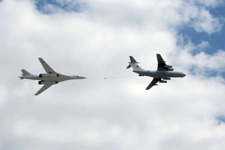 Simulated mid-air refueling aircraft Il-78 and Tu-160