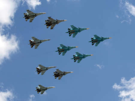 supersonic transport: group of fighter planes su-34, su-27 and SU-35S