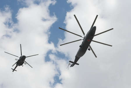 Helicopters Mi-26 and Mi-8AMTSh at the rehearsal of the Victory Parade in Moscow. Redakční