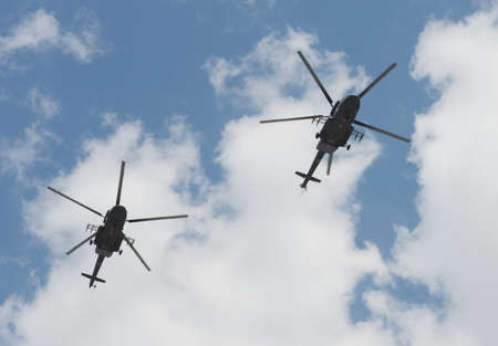 L'hélicoptère Mi-8AMTSH à la répétition du défilé de la Victoire à Moscou.