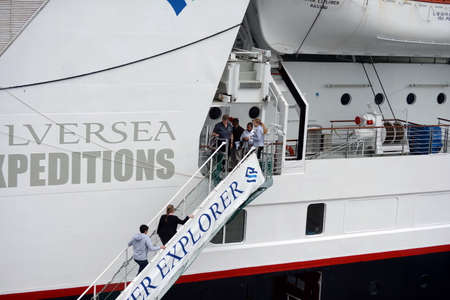 magallanes: At the gangway of a passenger ship in the port of Punta arenas. Editorial