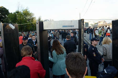 mandated: The passage through the inspection frame to rally in support of Alexei Navalny on Bolotnaya Square in Moscow
