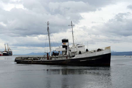 Steam tug Saint Christopher Grounded in the Beagle Channel. Editorial