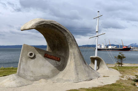 Monument wreck «Fournier» on the waterfront of Ushuaia. Editorial
