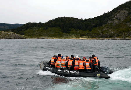 magallanes: Disembarkation of tourists from the cruise ship Via Australis on the island of Navarino Bay, Wulaia.