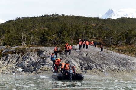 magallanes: Tourists from the cruise ship landed on the shore near Pia glacier.