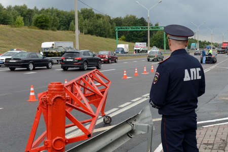 the traffic movement police: The inspector of traffic police on the track Don.