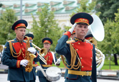 A military brass band in Alexander garden is paraded after laying flowers at the tomb of the Unknown Soldier.
