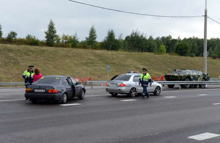 the traffic movement police: Inspectors of traffic police on the highway Don.