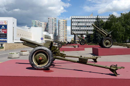 The exposition of the artillery equipment during the great Patriotic war at the Museum of defense of Moscow in the Olympic village. Editorial