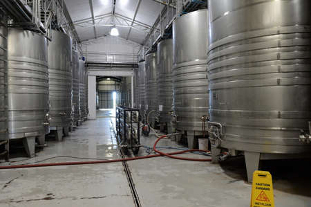 food plant: Fermentation tanks stainless steel for wine at the winery Viu Manent.