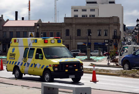 magallanes: The ambulance car on the streets of Punta Arenas.