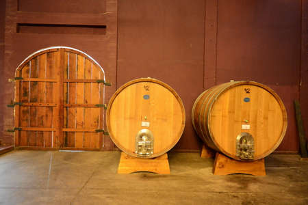 Barrels of cognac at the Viu Manent winery. Editorial