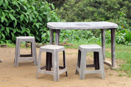 Outdoor furniture in a village house on the island of Sri Lanka.