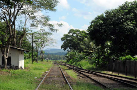 Railroad running through a small town on the island of Ceylon. Editorial