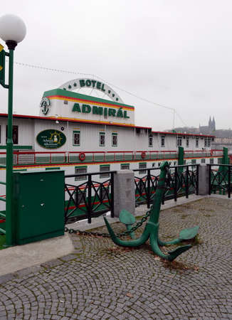 admiral: The floating Admiral hotel on the banks of the Vltava river. Editorial