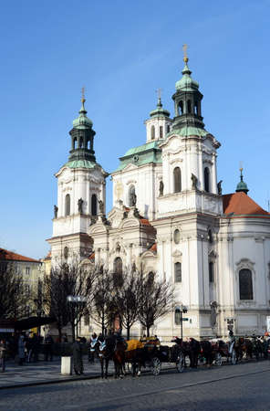 The Church of St. mikuláš (St. Nicholas Church) in the old town square of Prague.