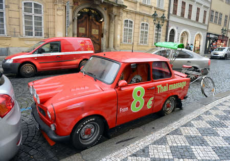 Car Trabant 601 on the streets of Prague.
