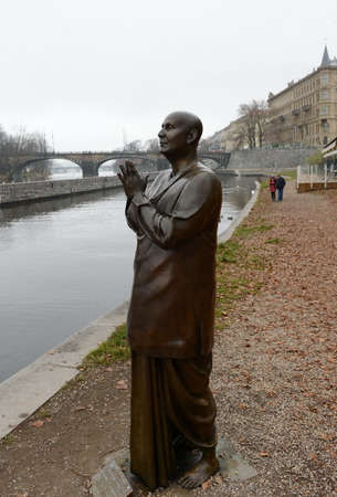 humanist: The statue of Harmony or sculpture Praying (Socha Harmonie) erected in honor of the famous Indian philosopher-humanist, a preacher of Sri Chinmoy.