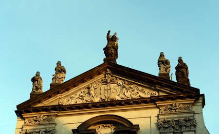Clementinum - Sculpture over the entrance of buildings in Prague