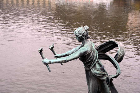 The sculpture on the Chekhov bridge on the Vltava river. Editorial