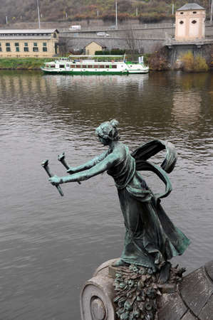 cecum: The sculpture on the Chekhov bridge on the Vltava river. Editorial