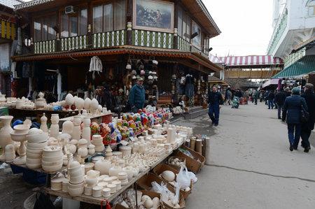 Souvenir stalls at Izmailovo Kremlin. Editorial