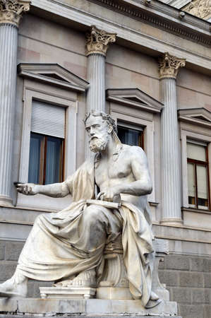 i i  i i toga: Greek philosopher Xenofones statue of Austrian Parliament Building,