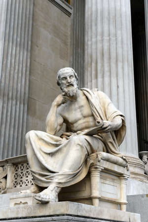 Sculpture of Herodotus of Halicarnassus, the building of the Austrian Parliament.
