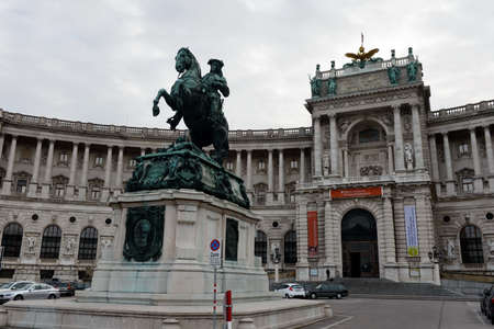 Monument of Prince Eugene of Savoy. Monument in Heldenplatz, Vienna, designed by Anton Dominik Fernkorn in 1865 Editorial