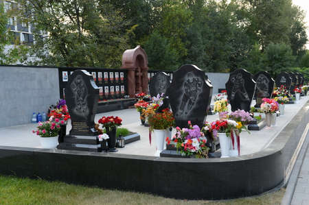 A memorial to the members of the hockey club Lokomotiv, who died in a plane crash on September 7, 2011, on Leontyevsky a cemetery.