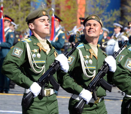 Dress rehearsal of parade in honor of Victory Day on red square on 7 may 2017. Cadets Military-space Academy named after Mozhaisky. Editorial