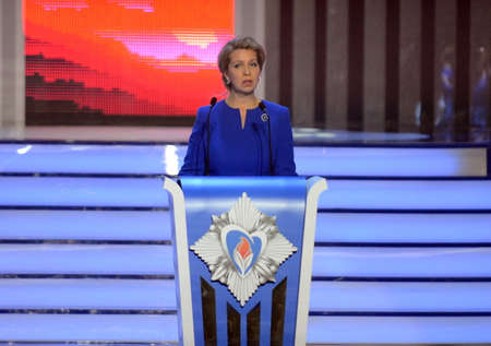 laureates: Svetlana Medvedeva, wife of the third President of the Russian Federation at the solemn ceremony of awarding the laureates of Hot heart