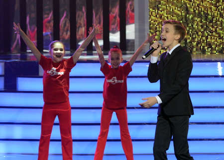 Russian singer, actor of theater and cinema, the representative of Russia at Junior Eurovision 2015 Mikhail Smirnov at the ceremony of the winners of the Hot heart