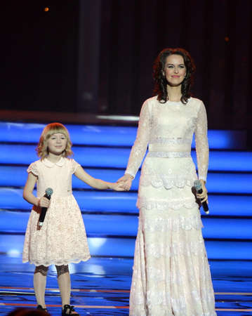 Actress Alena Bikkulova and finalist of the Voice - kids Yaroslava Degtyareva at the ceremony of awarding the winners of the warm heart.