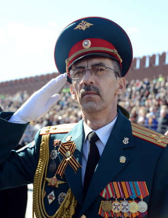 Officer during the national anthem on the red square during the General rehearsal of the parade dedicated to the 72nd anniversary of the Victory in the Great Patriotic War.