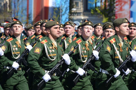 batallón: Dress rehearsal of parade in honor of Victory Day on red square on 7 may 2017. The cadets of the Moscow higher military command school. Editorial