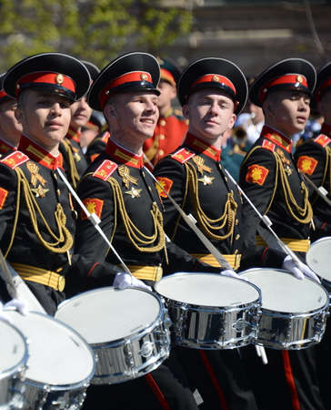 Drummers of the Moscow military music school in red square during the General rehearsal of the parade.