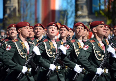 berets: The soldiers of his division. Dzerzhinsky troops of the national guard on the General parade rehearsal in red square in honor of Victory Day