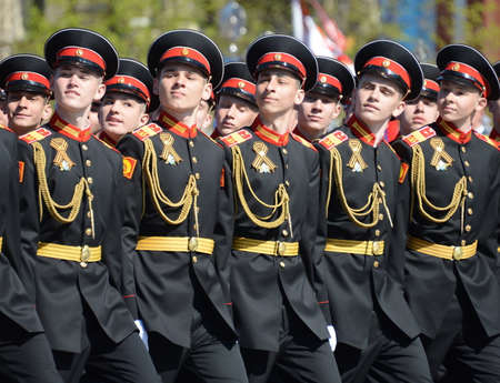 The pupils of the Tver Suvorov military school on the rehearsal of the parade on the square in honor of Victory Day. Editorial