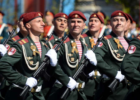 berets: The soldiers of his division. Dzerzhinsky troops of the national guard on the General parade rehearsal in red square in honor of Victory Day. Editorial