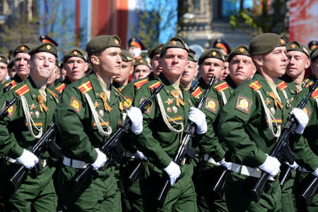 Dress rehearsal of parade in honor of Victory Day on red square on 7 may 2017. The cadets of the Moscow higher military command school. Editorial