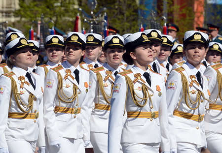 battalion: Girls-cadets of the Military University and Volsky Military Institute of Material Support named after A. Khrulyov on rehearsal of parade on red square.