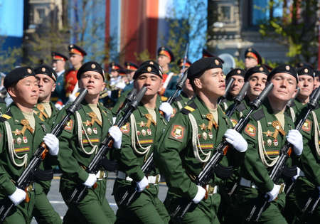 picks: Soldiers of the 4th guards tank division Kantemirovskaya on the General parade rehearsal in red square in honor of Victory Day.