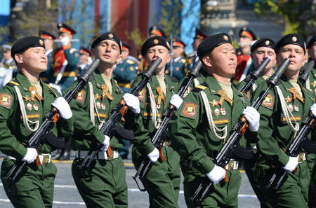 Soldiers of the 4th guards tank division Kantemirovskaya on the General parade rehearsal in red square in honor of Victory Day.